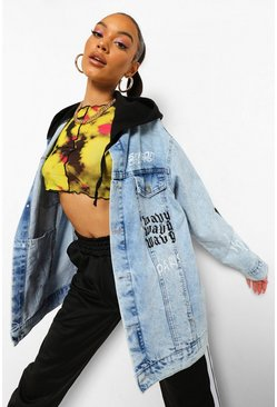 Blue Denim Printed Jacket With Hood