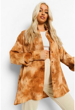 Brown Cord Tie Dye Oversized Shirt