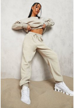 Stone beige Official Cropped Sweater Tracksuit