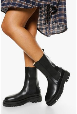 Black Wide Width Calf High Chunky Sole Chelsea Boot