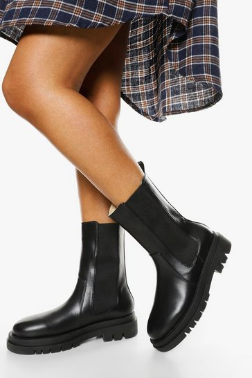 Black Wide Fit Calf High Chunky Sole Chelsea Boot