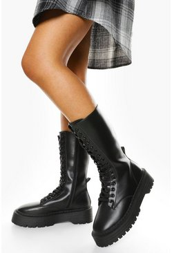 Black Wide Fit Lace Front Chunky Knee High Hiker Boots
