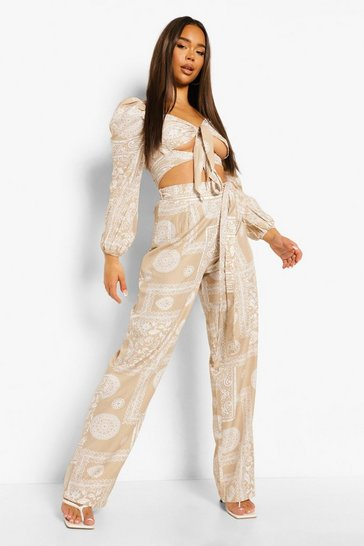 Stone beige Scarf Print Knot Top & Wide Leg Trousers