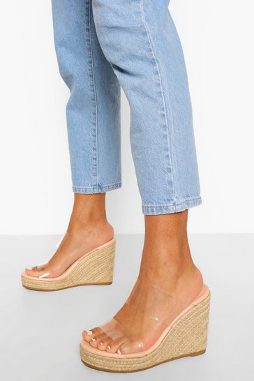 Nude Clear Double Strap Wedge