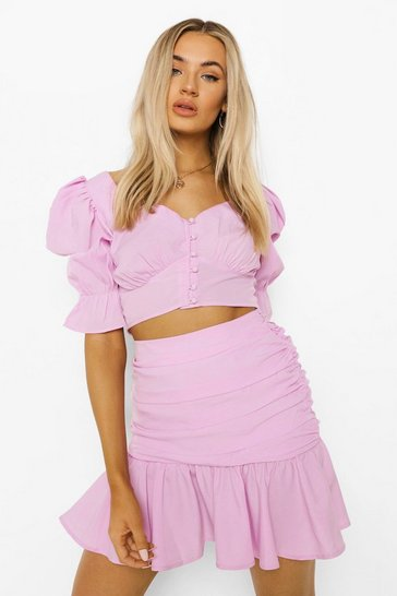 Lilac purple Puff Sleeve Top & Mini Skirt