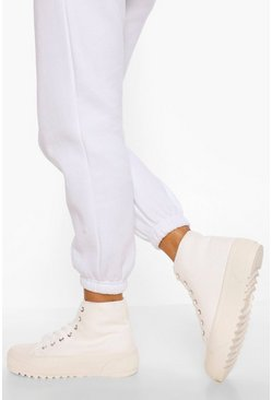 White Wide Fit Cleated Sole High Top Trainers