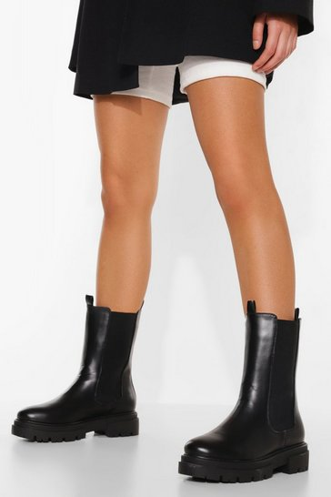 Black Wide Fit Chunky Calf High Chelsea Boots