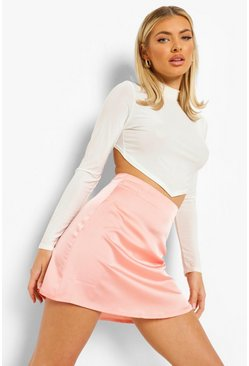 Peach orange Satin A-line Mini Skirt