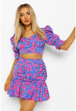 Bright blue blue Ditsy Floral Puff Sleeve Top & Ruffle Mini