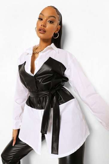 Ivory white Longline Shirt With Leather Look Corset