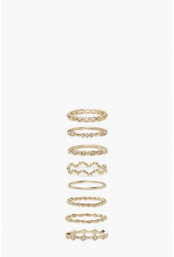 Gold metallic Twist Wave Ring Pack