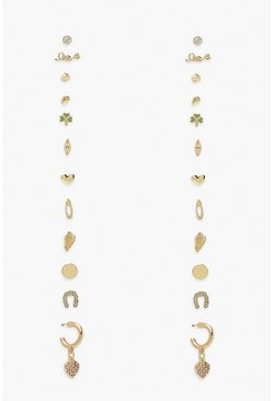Gold metallic Lucky In Love Stud Earing 12 Pack