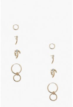 Gold metallic 4 Hoop Earring Pack