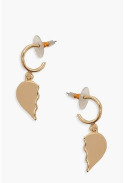 Gold metallic Broken Heart Mini Half Hoop Earrings