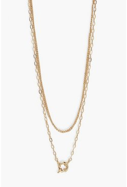 Gold metallic Front Statement Clasp Double Layer Necklace