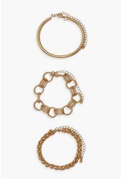Gold metallic Chunky Chain Bracelet 3 Pack