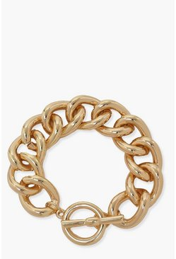 Gold metallic Chunky Chain Toggle Bracelet