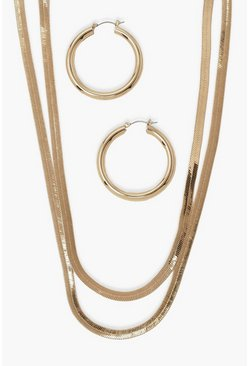 Gold metallic Double Flat Chain Necklace, Chunky Hoop Set