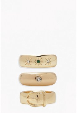 Gold metallic Chunky Belt Ring Pack