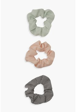 Natural beige Mini Gingham Check 3 Pack Scrunchie