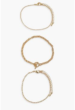 Gold metallic 3 Chain Toggle Clasp Bracelet Pack
