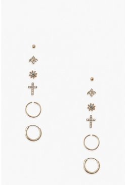 Gold metallic 6 Pack Cross And Flower Earring Pack