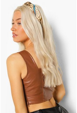 Camel beige Chain Print Knotted Top Headband