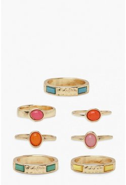 Gold metallic Rainbow Stones Ring Pack