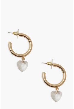 Gold metallic Heart Dangle Hoop Earrings