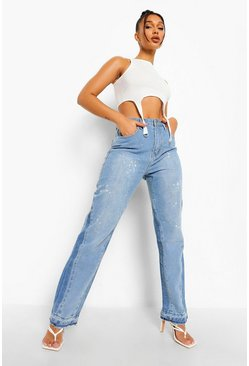 Light blue blue High Waist Bleached Straight Leg Spliced Jean