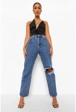 Mid blue blue High Waisted Rip Relaxed Straight Leg Jean