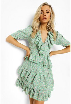 Apple green green Floral Ruffle Lace Up Back Mini Dress