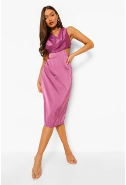 Purple Cowl Front Cut Out Midi Dress