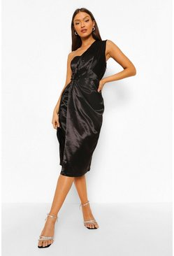 Black One Shoulder Drape Midi Dress