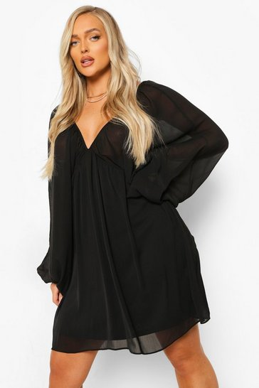 Black Balloon Sleeve Plunge Smock Dress