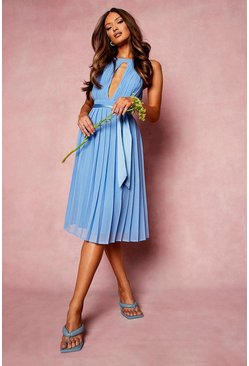 Blue Pleated Belted Midi Skater Dress