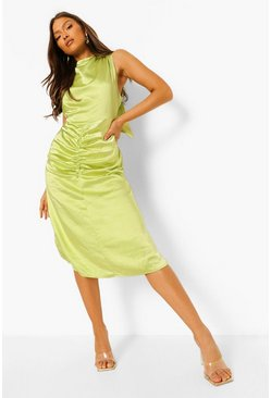 Lime green Satin Halterneck Gathered Midi Dress