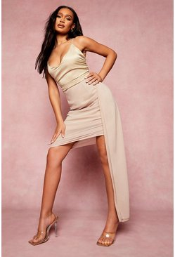 Stone beige Asymmetric Hem Draped Mini Dress