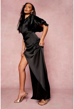 Black Puff One Shoulder Side Split Maxi Dress