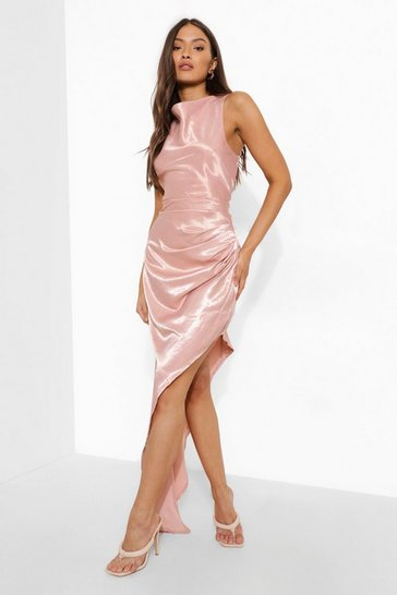 Rose pink High Neck Side Split Maxi Dress