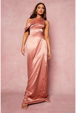 Apricot nude One Shoulder Drape Maxi Bridesmaid Dress