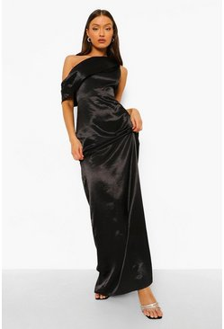 Black One Shoulder Drape Maxi Bridesmaid Dress