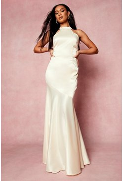 Ivory white High Neck Sleeveless Fishtail Maxi Dress