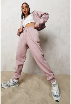 Dusky pink pink Overdyed Cropped Zip Hooded Tracksuit