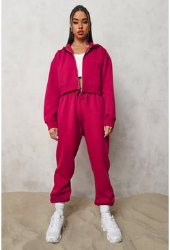 Pink Official Cropped Zip Through Tracksuit