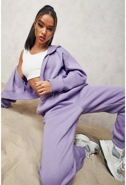 Official Cropped Zip Through Tracksuit , Purple violett