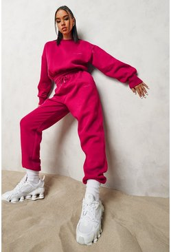 Pink Official Cropped Sweater Tracksuit