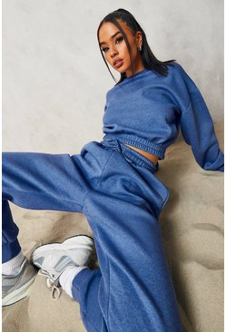 Blue Overdyed Official Cropped Sweater Tracksuit