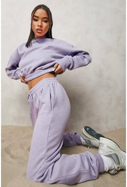 Overdyed Official Cropped Sweater Tracksuit, Lilac violett