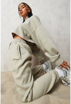 Stone beige Woman Signature Half Zip Cropped Tracksuit